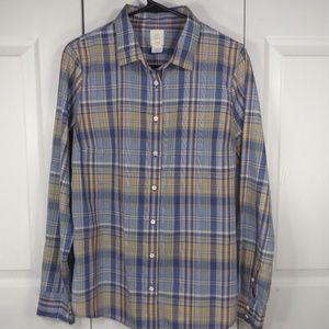 J Crew's Boy Shirt Blue & Tan Plaid Button Up 10